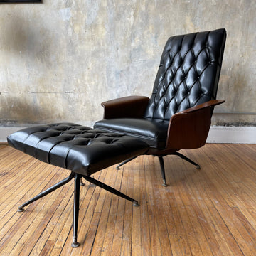 Mid Century Tufted Black Lounge Chair