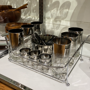 QL Silver Fade 15 Piece Cocktail Set with Holder