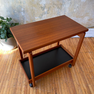 Danish Teak Flip Top Bar Cart