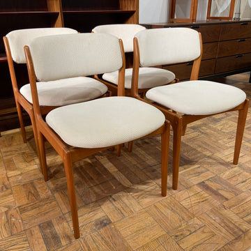 Set of 6 Upholstered Teak Dining Chairs