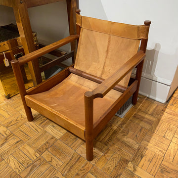 Teak and Leather Sling Lounge Chair