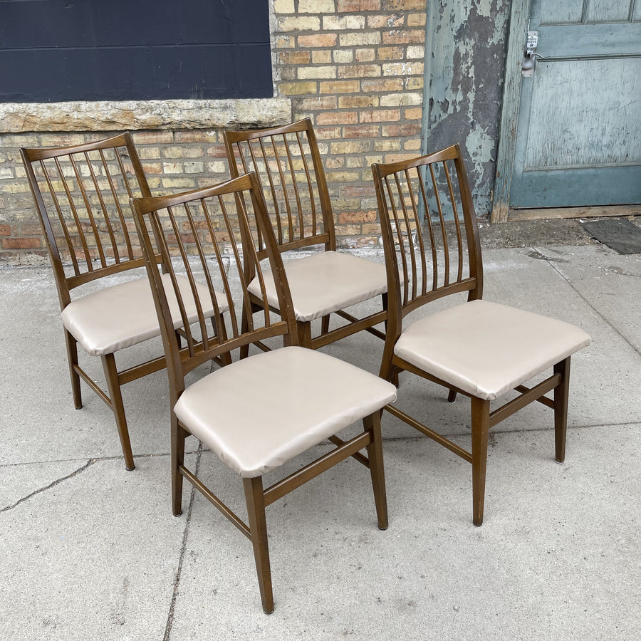 Set of 4 beech wood dining chairs.