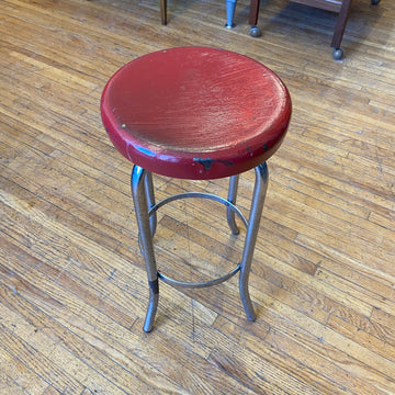 Small Industrial Stool with Red Seat