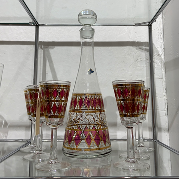 7 Piece Cocktail Set by West Virginia in Red & Gold