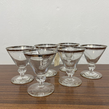 Set of 6 Libbey Double Silver Band Cocktail Glasses