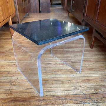 Pair of Curved Acrylic Side Tables with Stone Top