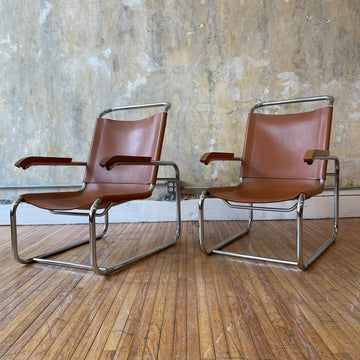 Breuer Style Leather Sling Lounge Chair