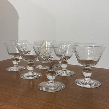 Set of 6 Starburst Champagne Glasses