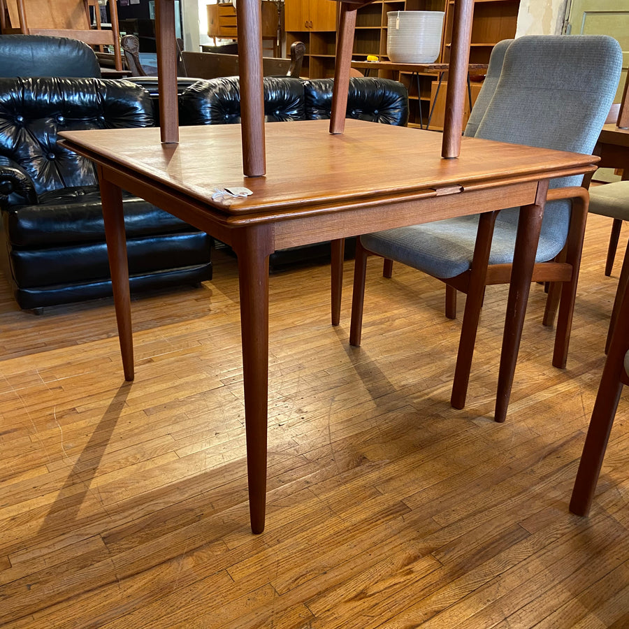 Square Danish Teak Draw Leaf Dining Table