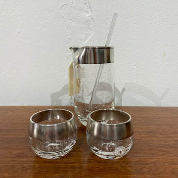 4 Piece Dorothy Thorpe Silver Band Cocktail Set