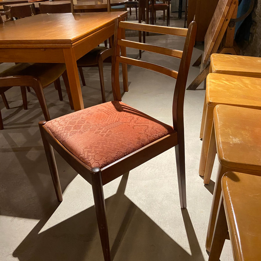 Set of 6 GPlan Dining Chairs with Red Velvet Upholstery