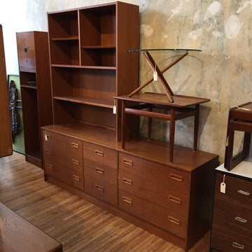 Danish Teak Nine Drawer Chest with Bookcase