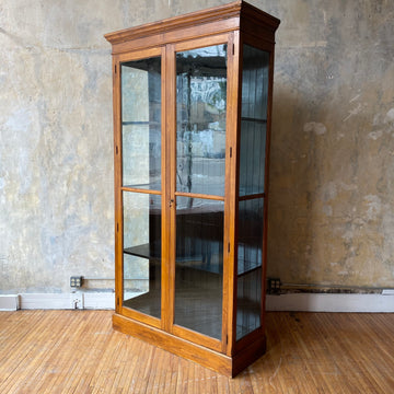 "Large c.1900 Antique Wood Display Cabinet (48""W)"