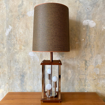 Chrome & Solid Walnut Table Lamp