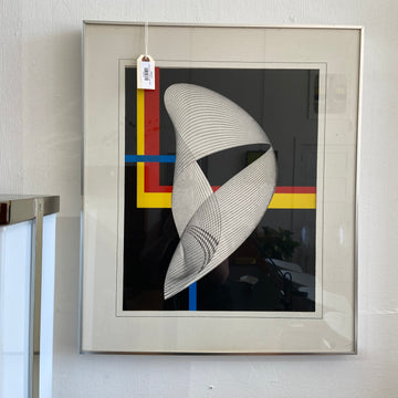 Framed Op Art - Primary Colors, Black