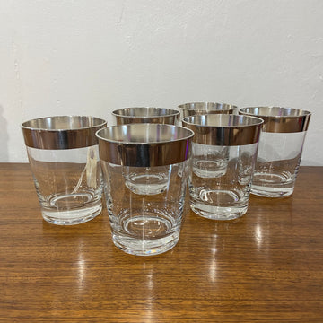 Set of 6 Dorothy Thorpe Silver Band Double Rocks Glasses