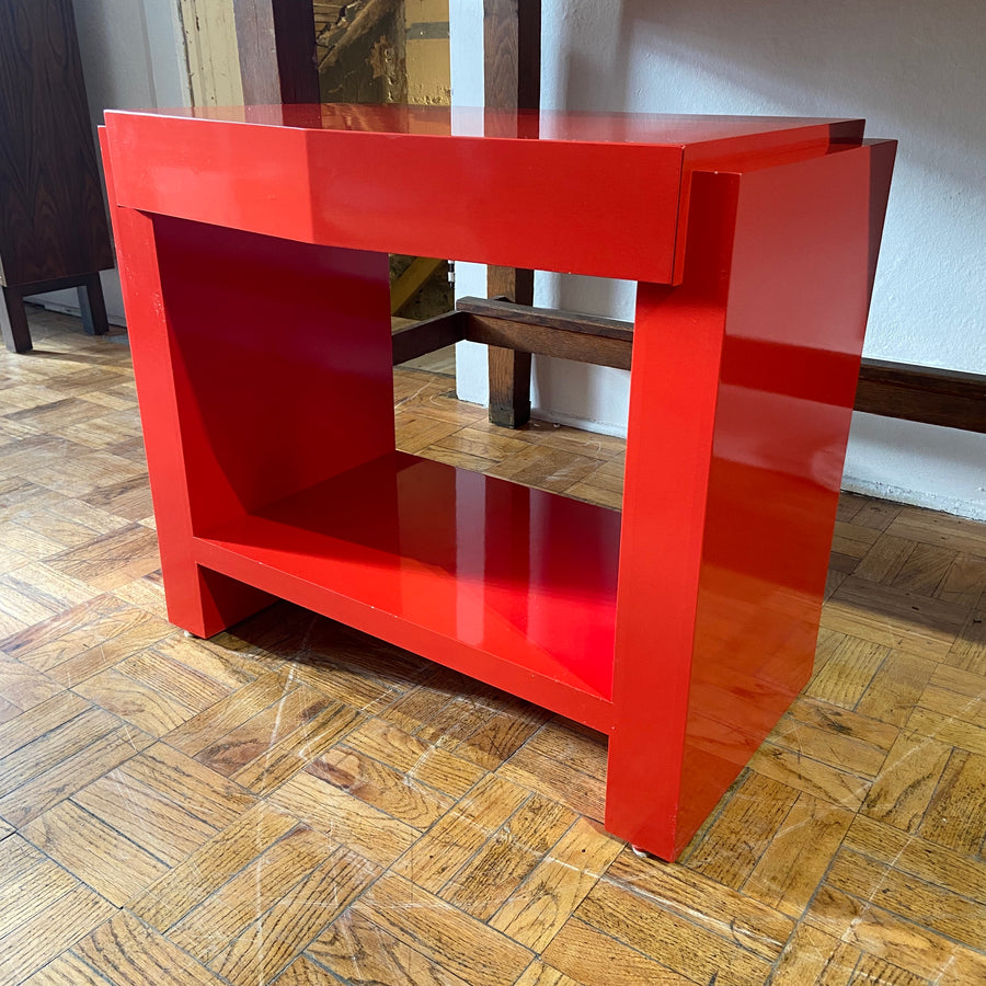 Vintage Modern Red Lacquered Vanity
