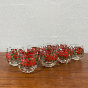 Set of 8 Federal Poinsettia Roly Polys