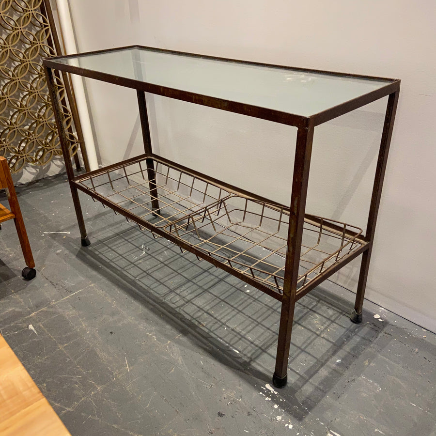 Glass Topped Steel Side Table