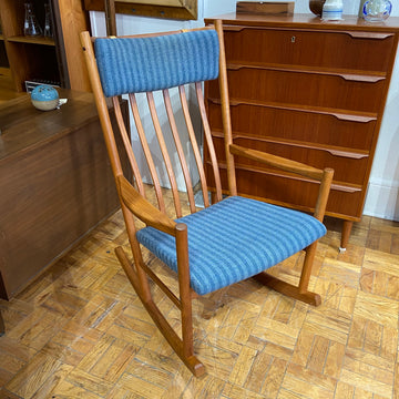 Teak Rocking Chair with Blue Upholstery