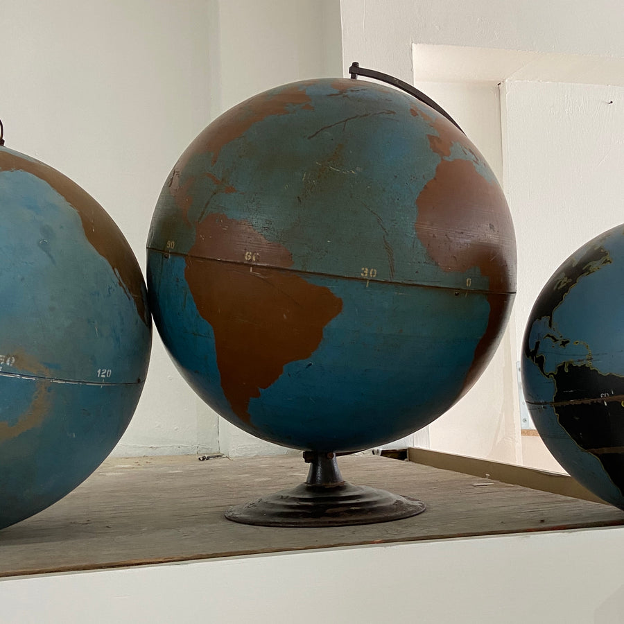 Hollow Spun Metal Aviation Globe with Stand