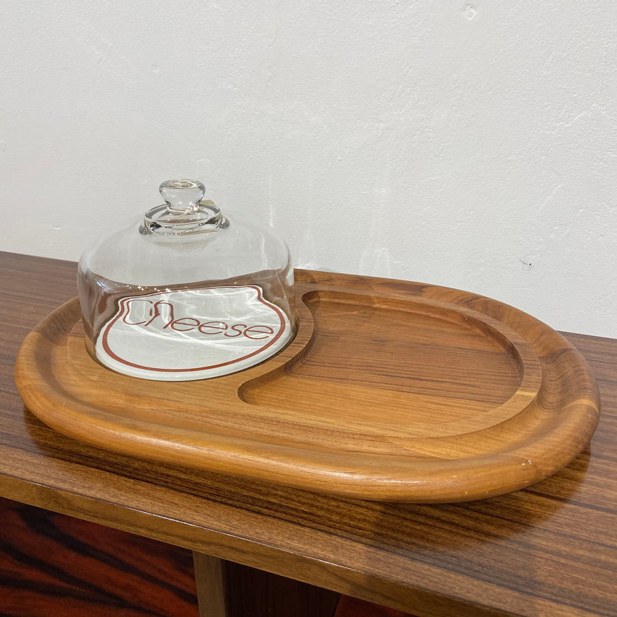 Cheese Dome with Wood Tray & 'Cheese' Porcelain Trivet