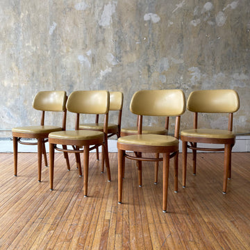 Set of 6 Yellow Thonet Dining Chairs