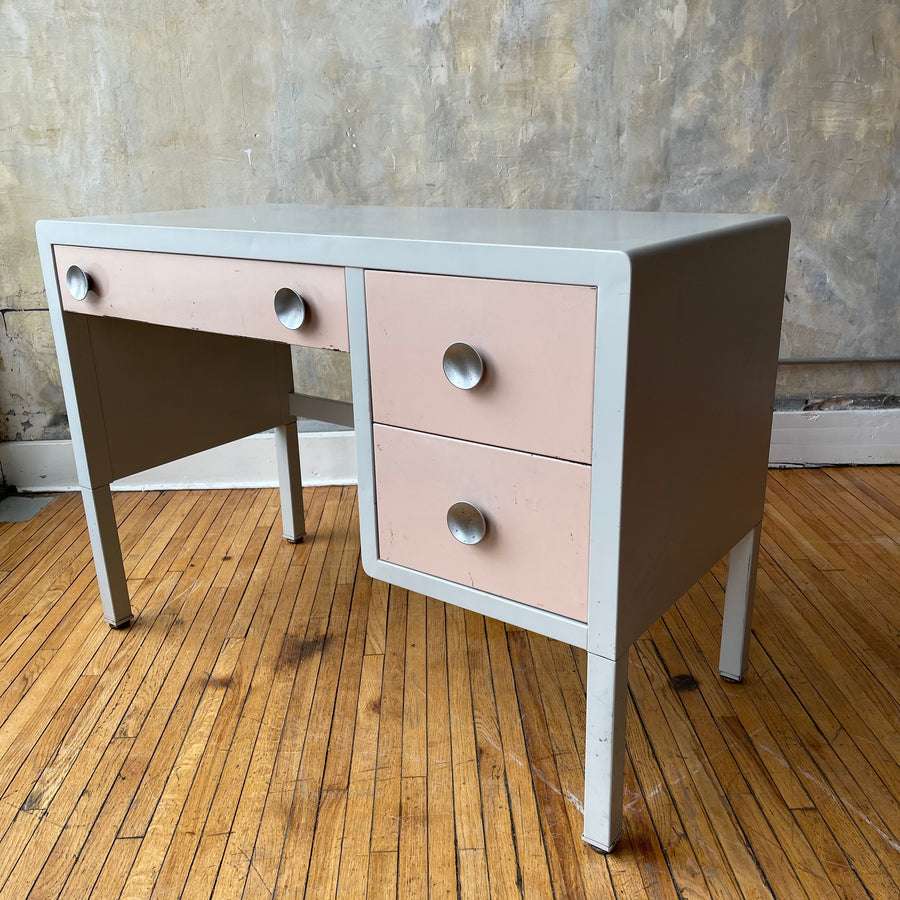 White and Pink Metal Desk