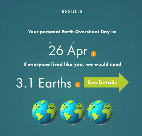 Screen shot of results from eco footprint quiz - 3.1 earths needed to accommodate my lifestyle.