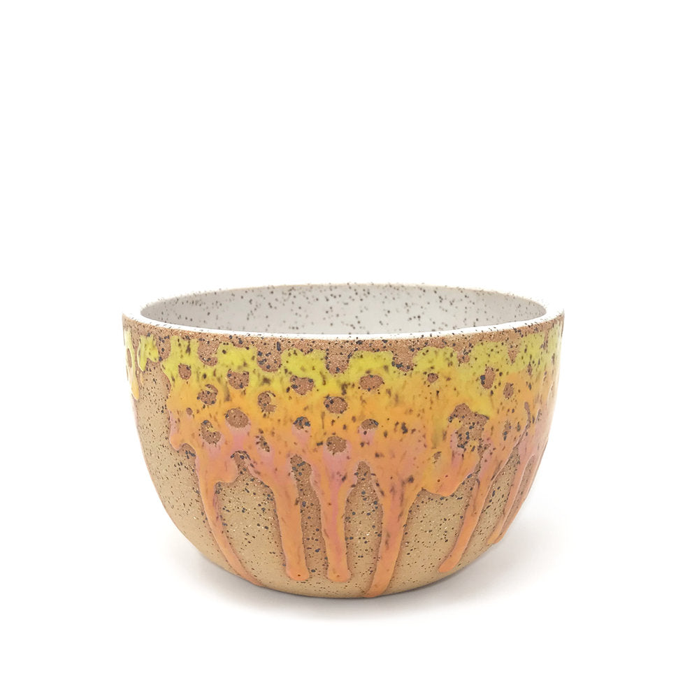 Ceramic Bowl, Sunset Colors of orange and yellow glaze dripping down the sides