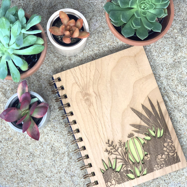 Desert Garden Wood Journal