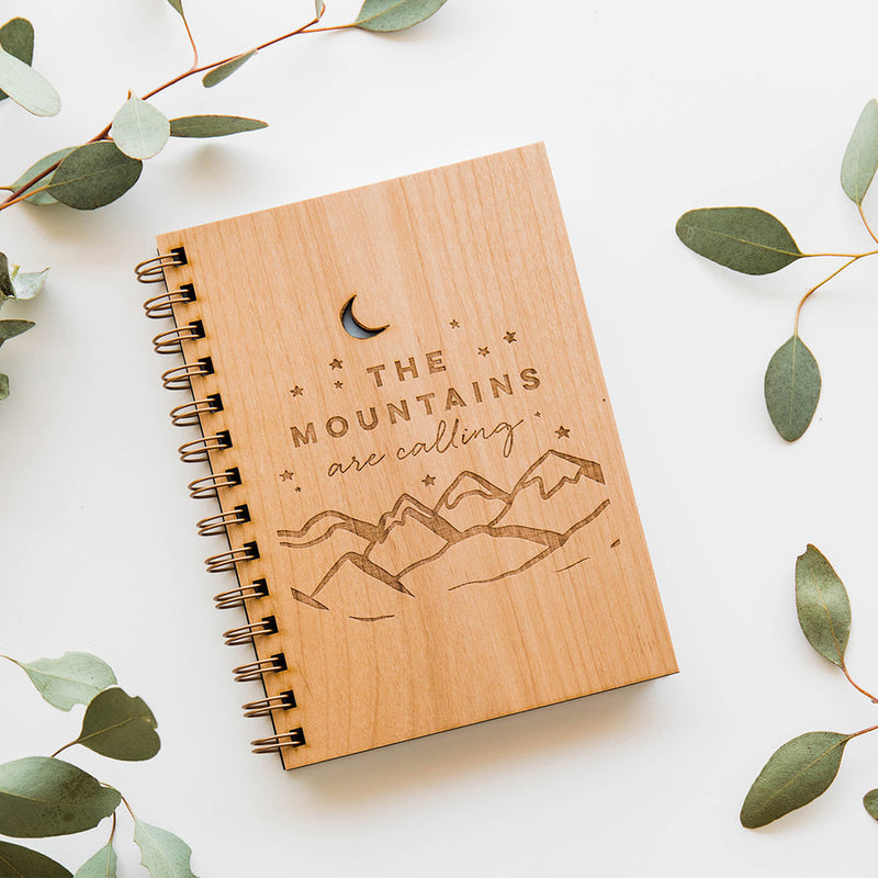 The Mountains Are Calling Wood Journal - Good Spark