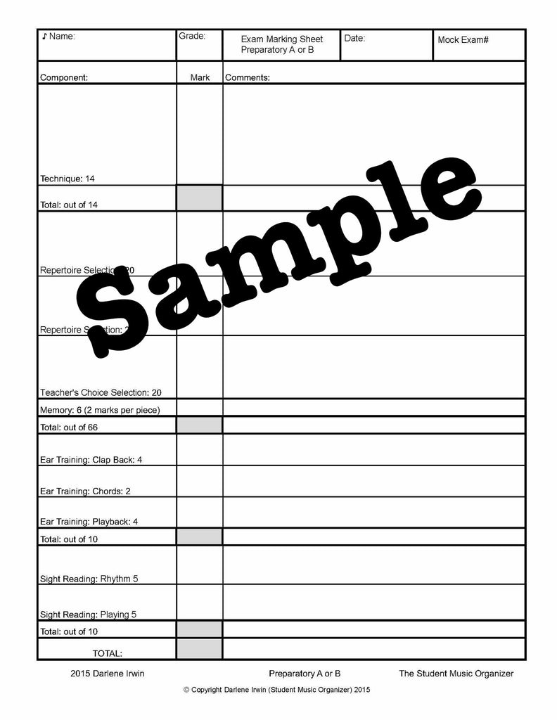 Mock Exam PDF Fillable Charts