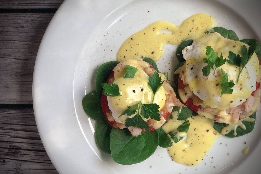 Smoked Black Cod Eggs Benedict with Asian Hollandaise Sauce