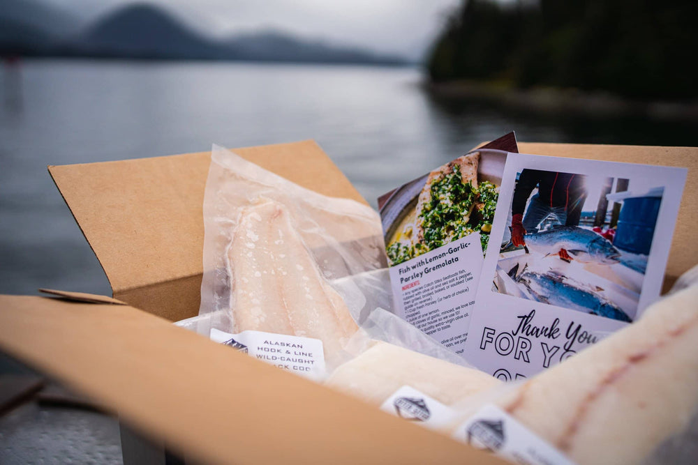 Catch Sitka Alaskan hook & line wild-caught spring seafood mix box.