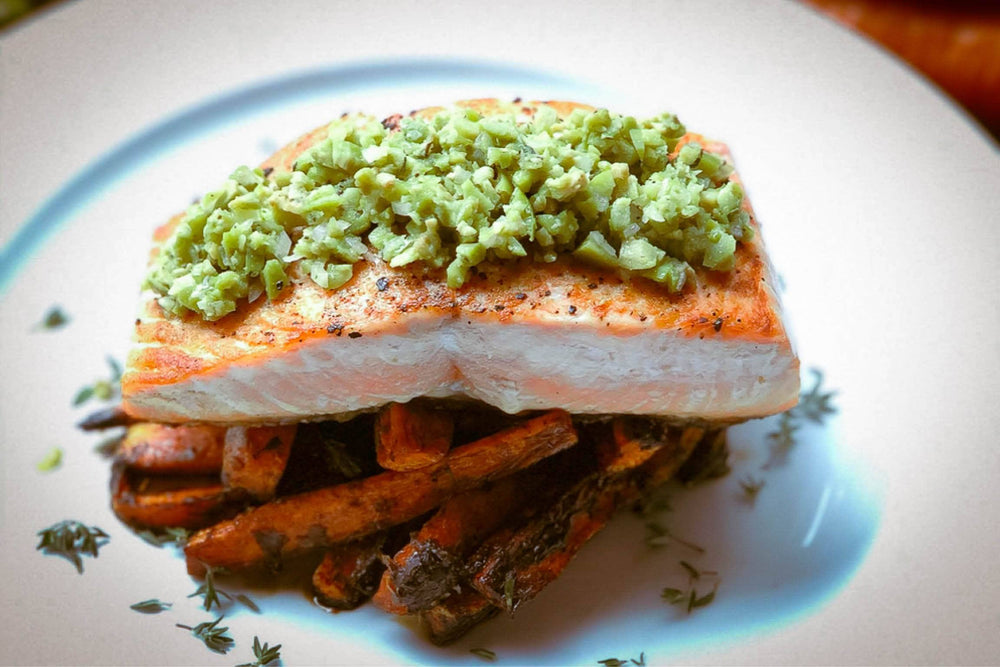 Catch Sitka Alaskan hook & line wild-caught king salmon with olive tapenade recipe.