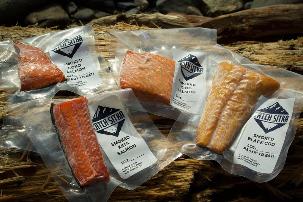 Smoked Coho, Keta, and King Salmon and smoked Black Cod.