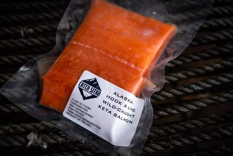 Load image into Gallery viewer, Catch Sitka Alaskan hook & line wild-caught keta salmon.