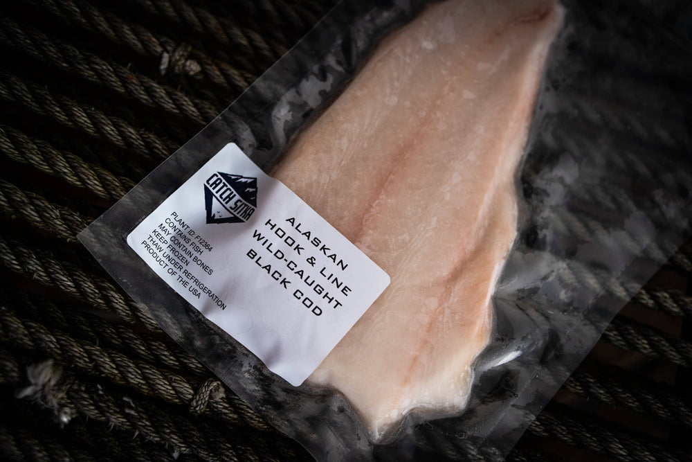 Load image into Gallery viewer, Catch Sitka Alaskan hook & line wild-caught black cod.
