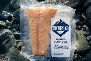 Load image into Gallery viewer, Smoked Black Cod in vacuum sealed bag.