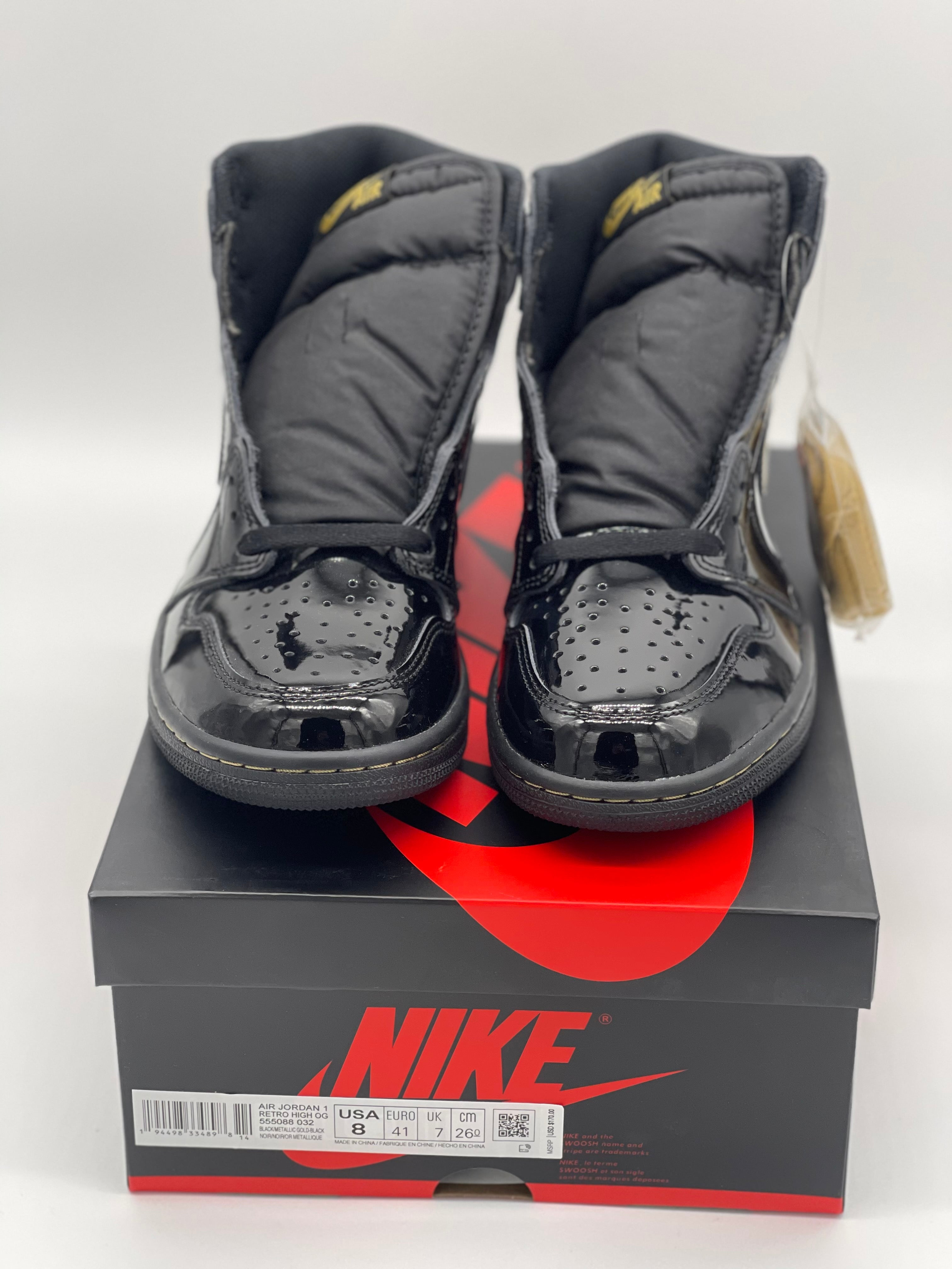 Retro 1 'Black Metallic Gold' Size 8 DS