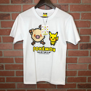 Bape x Pokemon Tee Mankey Pikachu White Small