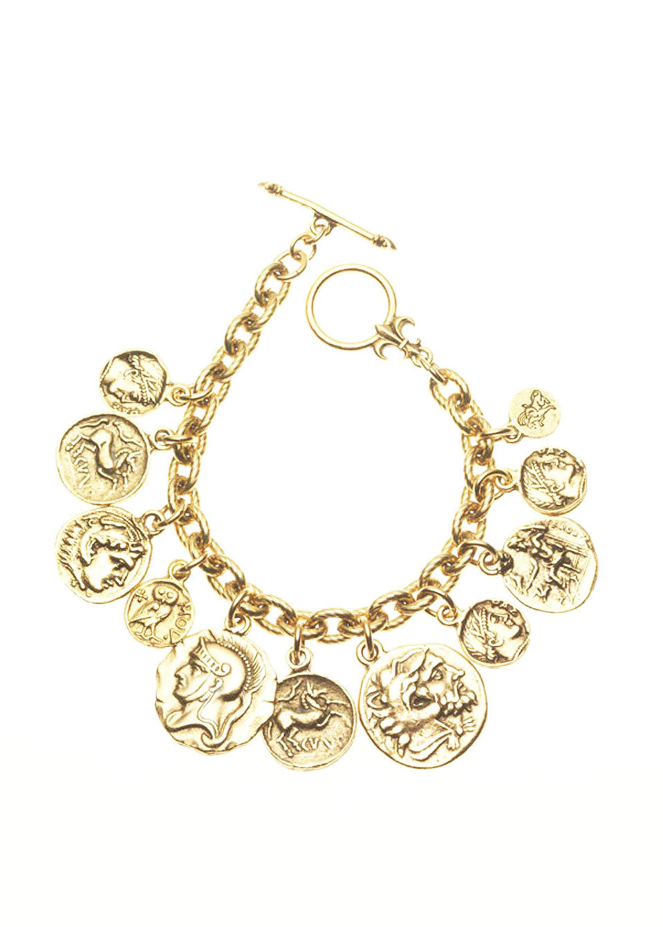Gold Tone Greek-Roman Coin Bracelet
