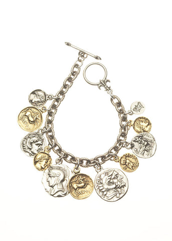 Two Tone Greece-Roman Coin Bracelet