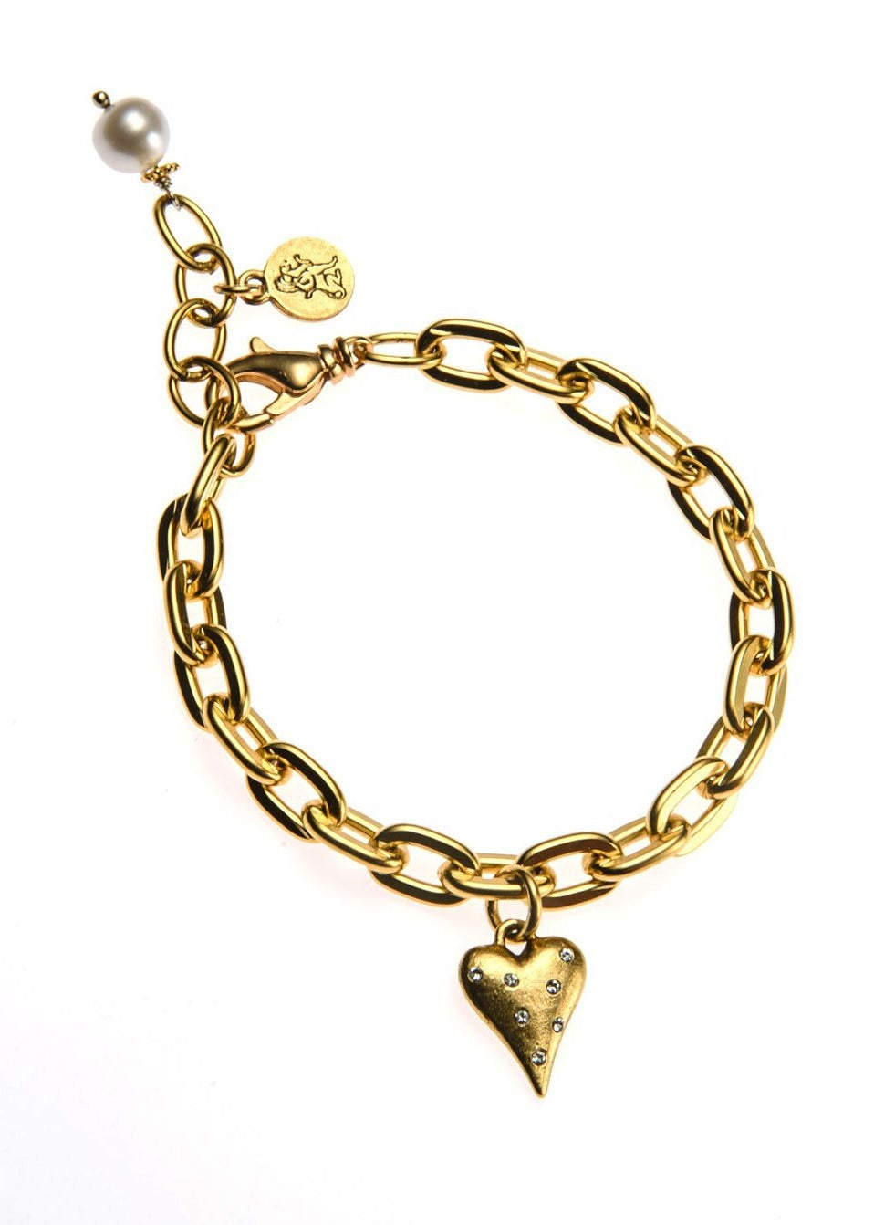 Matt Gold Crystal Heart Bracelet