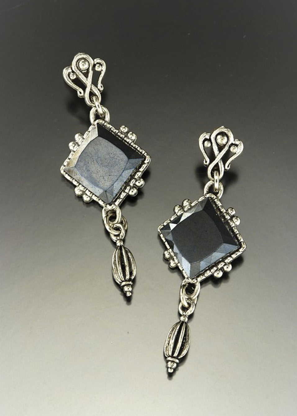 Hematite Diamond Drop Earring