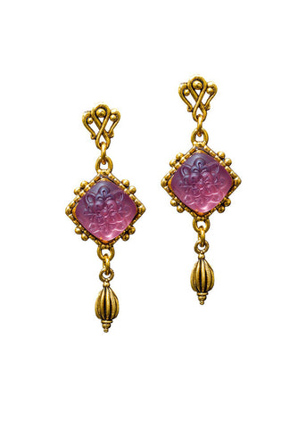 Amethyst Crystal Diamond Drop Earring