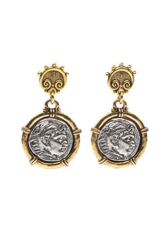 Two Tone Greek Coin Earring
