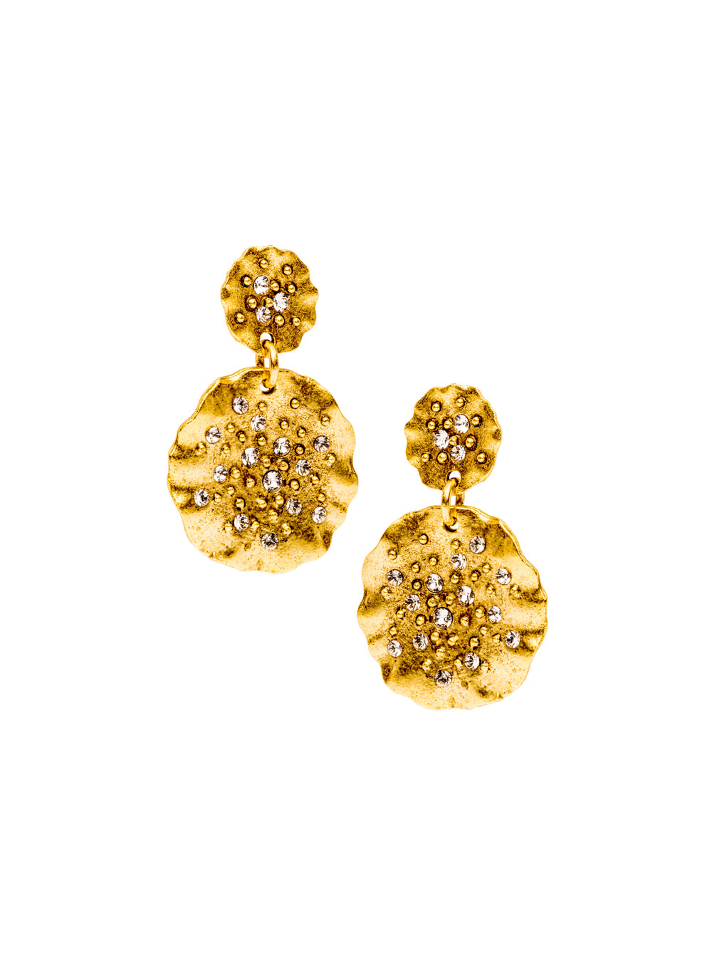 Pave Ruffle Disc Earring