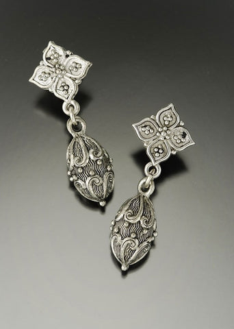 Silver Egg Drop Earring